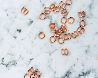 4 pieces – 6mm – of Rose Gold plated bra rings & sliders – for bra and swimwear making