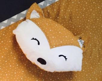 Mustard yellow Fox pillow