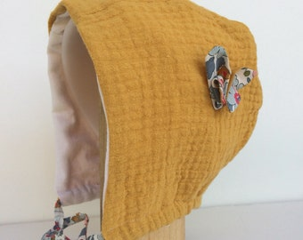 Crush, mustard cotton gauze lined hood and liberty betsy from 3 months to 3 years