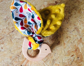 Wooden teething ring, shaped bird, cotton and minky, rattle Bunny, rabbit ear