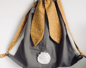 bag has backpack, kids bag, bag rabbit, customizable