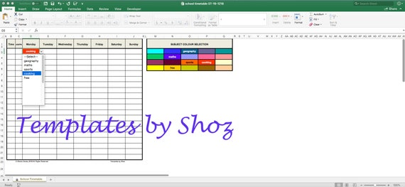 School Class Schedule Timetable Excel XLSX File with Auto Colour Fill &  Editable Subjects