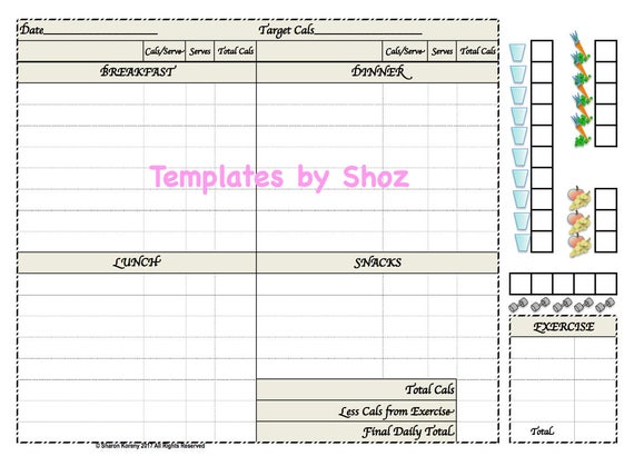 Weight Loss Chart With Water Fruit Vegetable And Exercise Etsy