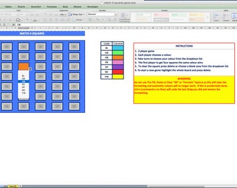 Match 4 Squares Game Excel File with Auto Colour Fill