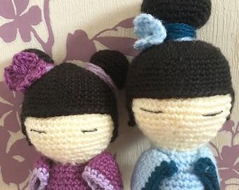Crochet Amigurumi Kokeshi dolls