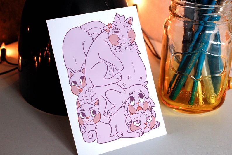 Cats illustrated A6 postcard