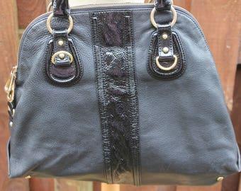 Vintage EPISODE Huge Shopper Hobo Slouch Tote School College Work Shoulder Bag Black & Patent Leather Hide Harness Purse