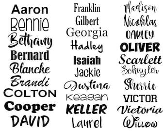 Personalised Custom name word vinyl decal sticker water bottle love heart font