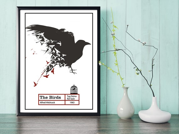 Alfred Hitchcock The Birds Crow Shoulder Movie Film Poster Print Picture A3 A4
