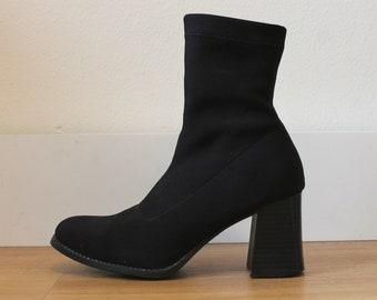 Vintage 90s Black . Neoprene Ankle Boots Size 6