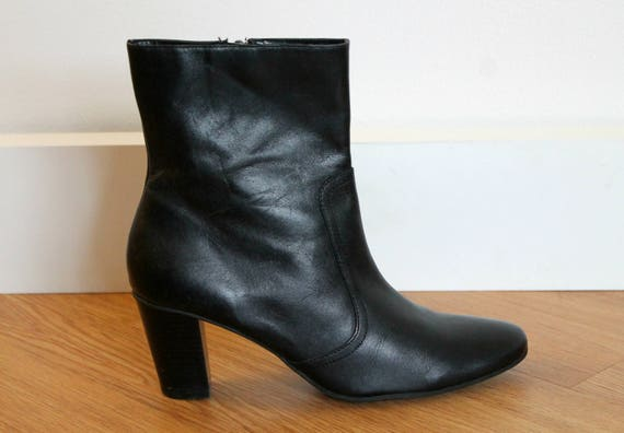 Vintage Black Leather Above Ankle Boot