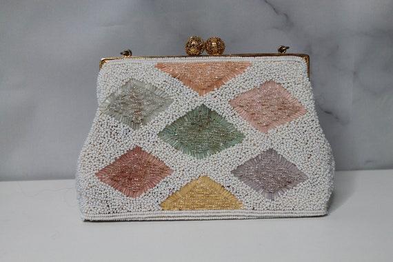 Vintage 50's Beaded Handbag Evening Clutch Handmad