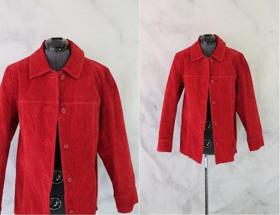 Vintage 90s Red Suede Jacket | Long Leather Jacket