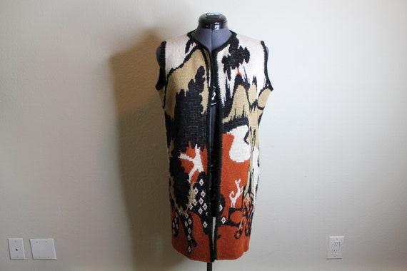 Vintage 70s Psychedelic Desert Print Vest   Long … - image 2