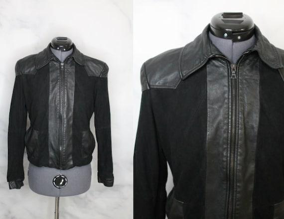 Vintage Y2K Black Suede Leather Jacket Autograph A