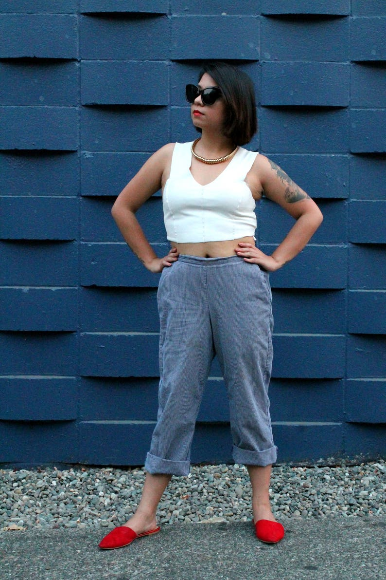 High Rise Vintage Blue /& White Striped Trouser Casual Pinstripe Pant