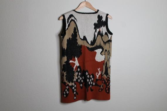 Vintage 70s Psychedelic Desert Print Vest   Long … - image 5