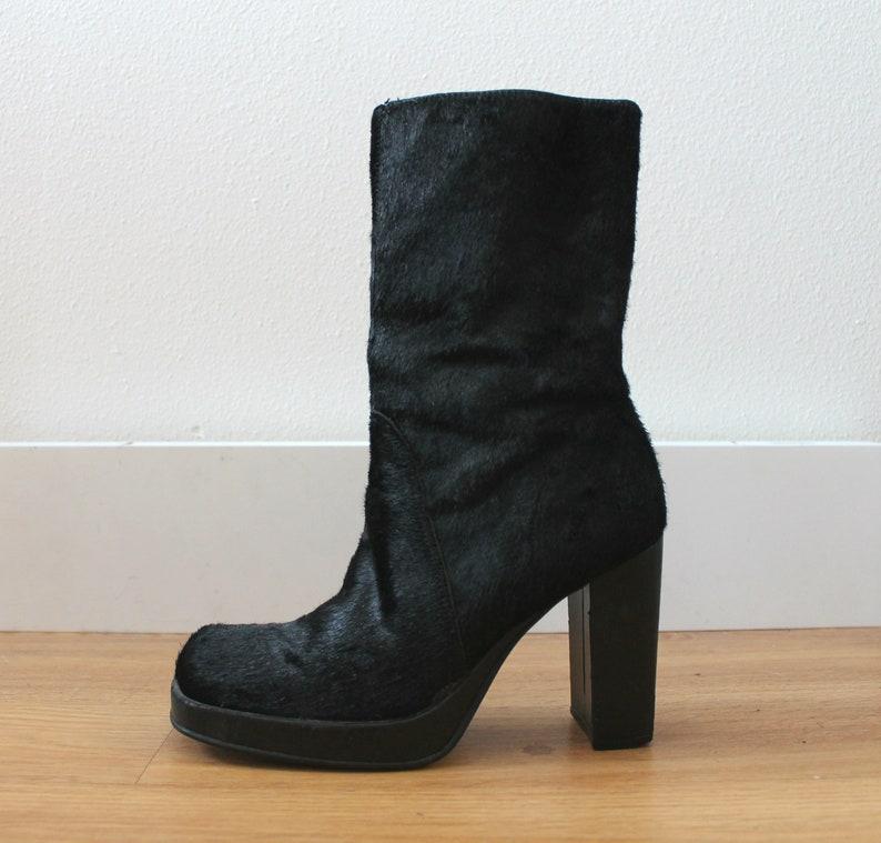 e7878dedb1d Vintage 90s Black Pony Calf Hair Platform Boots | Square Toe | Y2K | Club  Kid | Size 6.5