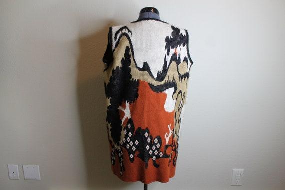 Vintage 70s Psychedelic Desert Print Vest   Long … - image 4