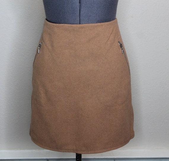 Vintage 90s Tan Mini Skirt | Nude Skirt 90s Does … - image 5