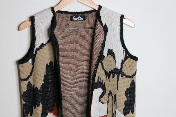 Vintage 70s Psychedelic Desert Print Vest   Long … - image 3