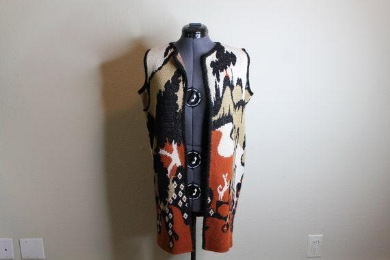 Vintage 70s Psychedelic Desert Print Vest   Long … - image 8