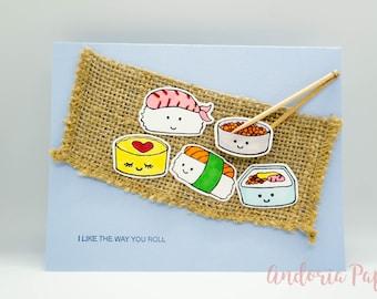 PUNNY: I Like The Way You Roll Sushi Birthday, Sushi Birthday, Happy Birthday, Funny Birthday, Salmon, Japanese Food, Foodie Birthday