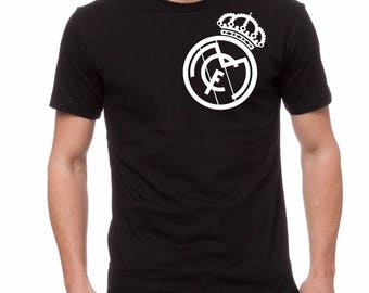 95e6de558cc Real Madrid Tshirt Tee Black Custom Graphic Camiseta Jersey Soccer Futbol