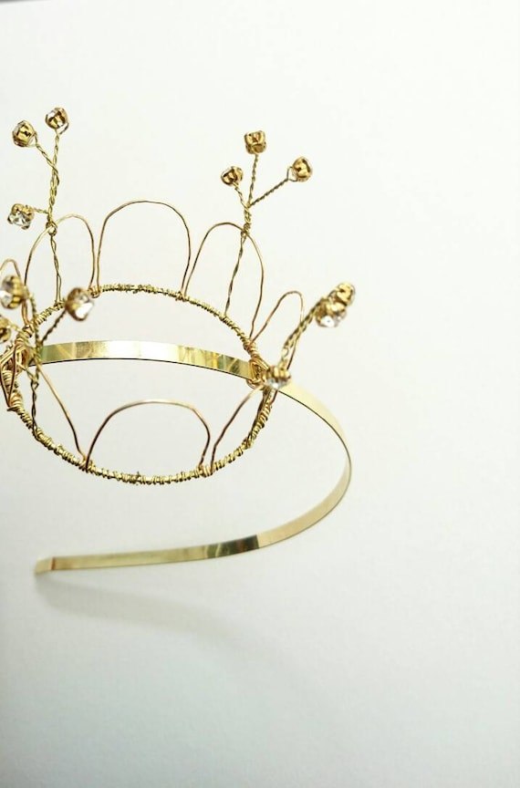 Princess Bea. Gold Crown headband. Handmade wire crown with  7a31d546225