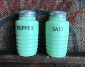Antique Jadeite Salt and Pepper Set