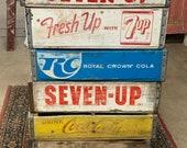 Vintage Coke Pepsi Royal Crown Canada Dry Seven Up Pop Soda Crate Box Case