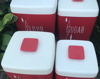Lustro Ware Red Plastic Square Canister Set