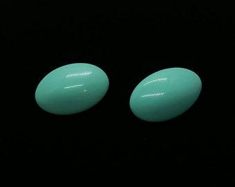 Aqua Blue Oval Earrings Retro 80's 90's earrings Silver Tone Stud Back