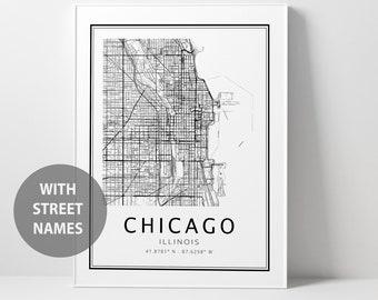 Chicago Map Print,  Illinois Printable Map - DIGITAL DOWNLOAD -