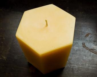 Large Beeswax Pillar Candles - Hexagon