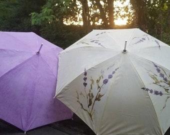 Hand painted umbrella. Wedding umbrella, flower girl umbrella, photography prop, shade umbrella, sun shade, styled shoot prop, umbrella