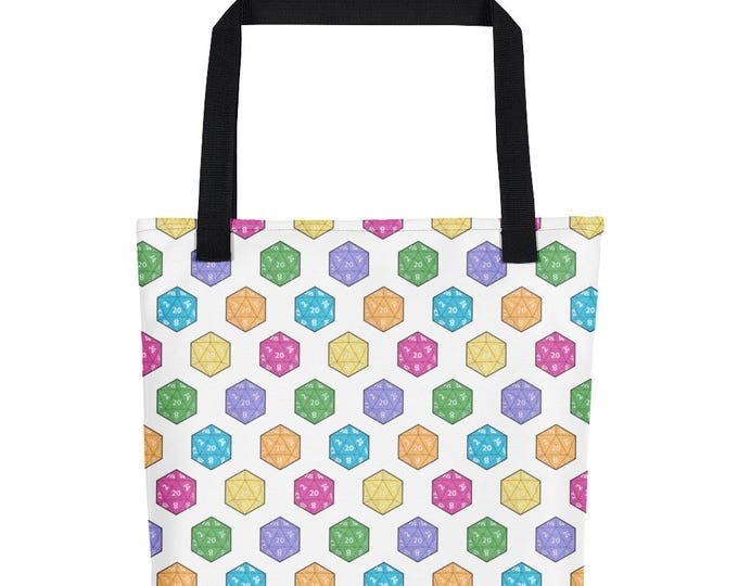 Multi Color D20 Tote Bag // Table top RPG bag // Dnd
