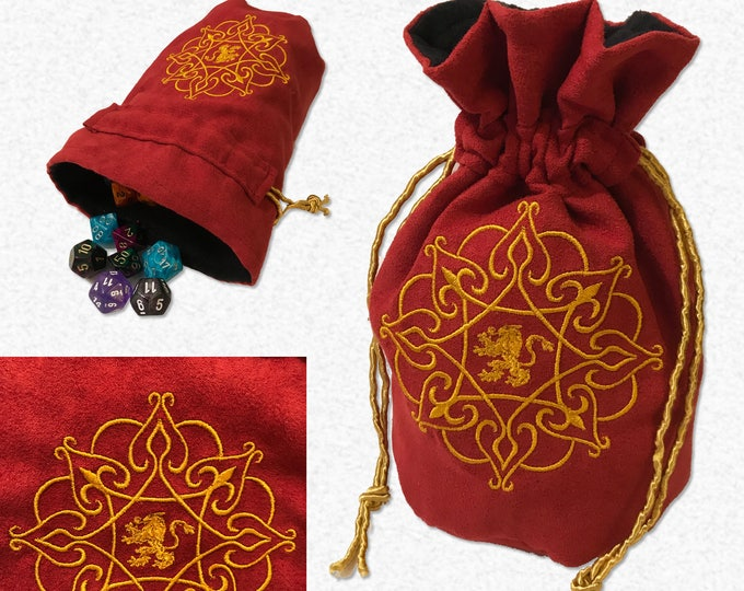 Gold Lion Embroidered Dice Bag // Tabletop / Roleplaying Bag // GOT inspired