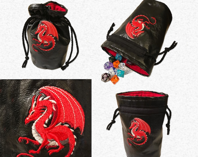 Red Dragon Embroidered Dice Bag // Tabletop gaming bag // Roleplaying Game drawstring bag //