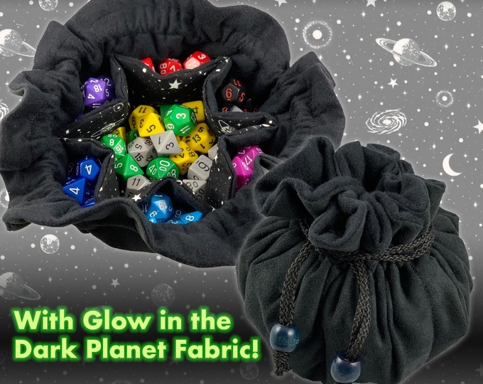 Glow Planet Multi Pocket Bag  // DND tabletop gaming dice bag // Jewelry bag pouch