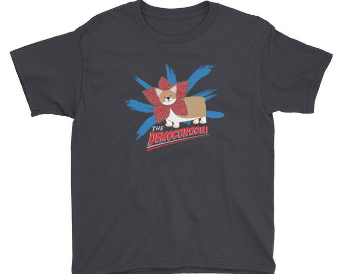 Youth Short Sleeve Democorgon T-Shirt // Stranger things inspired youth tee // Corgi Demogorgon