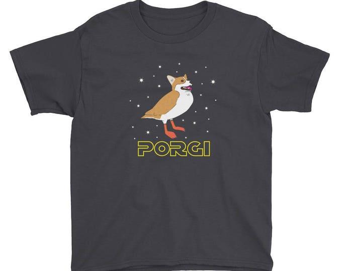 Youth Short Sleeve Porgi T-Shirt // Star Wars Porg Parody Tee // Corgi Shirt