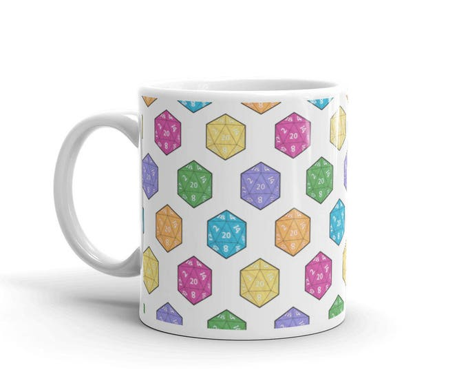 Multi Colored Tabletop Gaming d20 Dice Coffee Mug