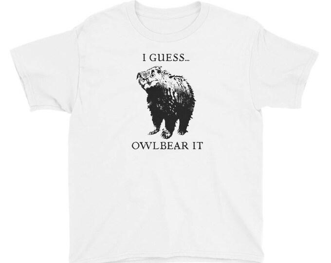 Youth Short Sleeve OwlBear Pun T-Shirt // DND inspired Kids Shirt //