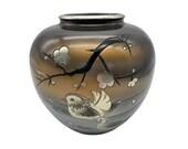 Chokin Vase Japan Vintage-Vintage Japanese Metal Vase Etching-Japanese Brass Chokin Vase-Bird Cherry Blossoms Design-Bronze Silver Inlaid