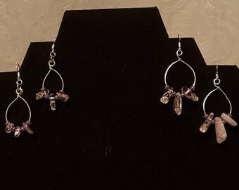 Pink Ice Flake Quartz Earrings on Silver Fishhooks