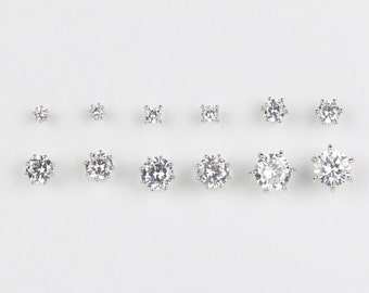 822d4b4a1 6 pair multi pack diamond earring set Small Silver or Gold Earrings Stud Set  of 6 Diamond Simulated Cubic Zirconia Pack for Women