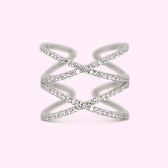 Adjustable Size Ring Birthday Gift Promise Ring Anniversary Ring Gifts For Mom Dainty Cubic Zirconia Crystal Ring Stacking Double X Ring