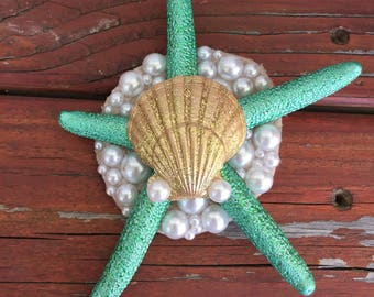 Starfish and Seashell Hair Clip
