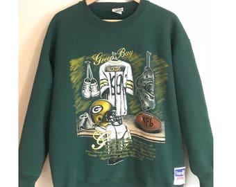 77abddc9e5be Vintage Green Bay Packers Sweatshirt 90s Football Crewneck Vintage NFL Retro  Rare Packers Crewneck Nutmeg Mills SIZE XL
